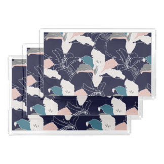 Navy Tropical Floral Vanity Tray