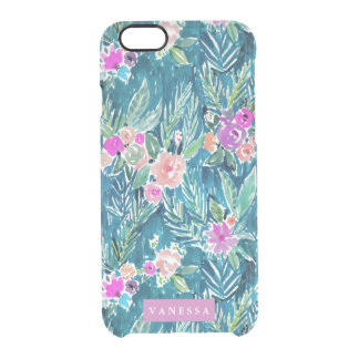 Navy Tropical Paradise Floral CUSTOMIZABLE Clear iPhone 6/6S Case