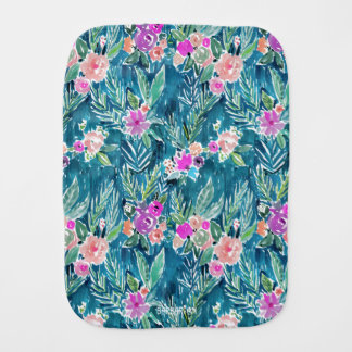 NAVY TROPICAL PARADISE Hawaiian Hibiscus Floral Burp Cloth