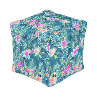 NAVY TROPICAL PARADISE Hawaiian Hibiscus Floral Pouf