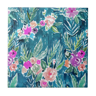 NAVY TROPICAL PARADISE Hawaiian Hibiscus Floral Small Square Tile