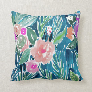 Navy Tropical Paradise Watercolor Floral Cushion