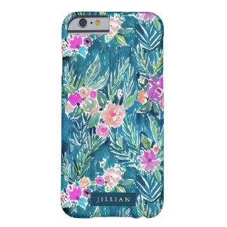 Navy Tropical Watercolor Floral CUSTOMIZABLE Barely There iPhone 6 Case