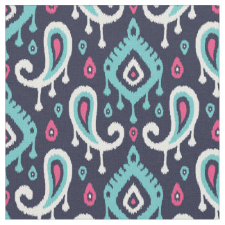 Navy Turquoise and Pink Ikat Paisley Fabric