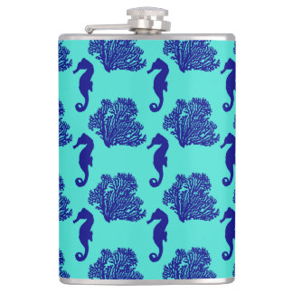 Navy Turquoise Seahorse Coastal Pattern Flasks