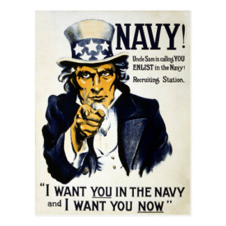 Navy! Uncle Sam is calling you, Enlist in the Navy Postcard