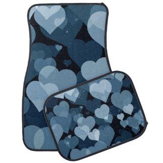 Navy Valentine Hearts Car Mat Full Set