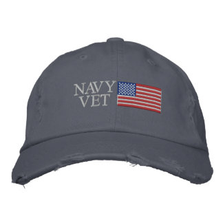 Navy Vet with American Flag Military Baseball Cap