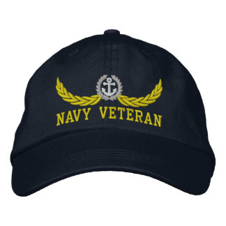 Navy Veteran and nautical motif Embroidered Hat
