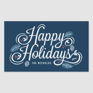 Navy Vintage Happy Holidays Rectangle Stickers