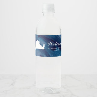 Navy Watercolor Blue Marthas Vineyard Map Wedding Water Bottle Label