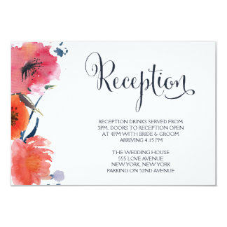Navy Watercolor Floral Wedding Reception Cards