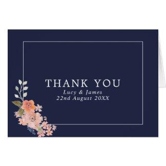 Navy Watercolor Floral Wedding Thank You Card