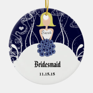 Navy Wedding Gown Bridesmaid Christmas Ornament