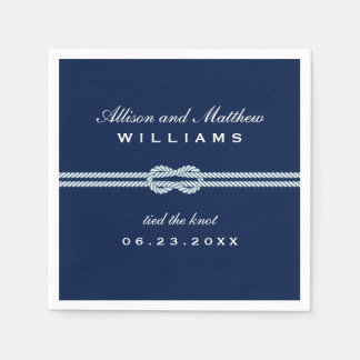 Navy Wedding Napkins | Tied the Knot Monogram Disposable Serviette