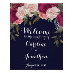 Navy wedding welcome sign burgundy florals