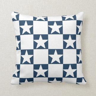 Navy white checkerboard pattern cushion