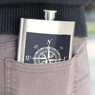 Navy & White Compass Nautical Flask