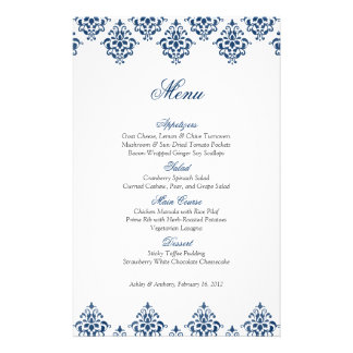 Navy White Damask Arabesque Wedding Menu Card 14 Cm X 21.5 Cm Flyer