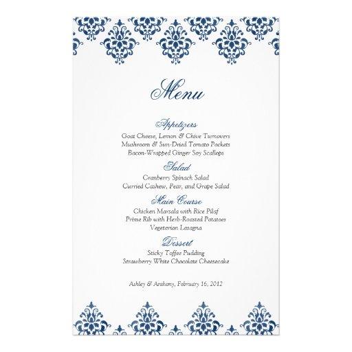 Navy White Damask Arabesque Wedding Menu Card Custom Flyer