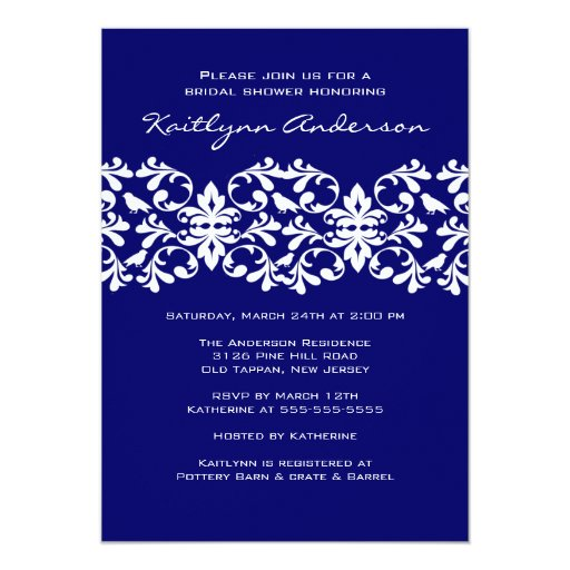 Navy & White Damask Bridal Shower Invitation