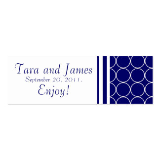 Navy White Dots Wedding Favour Tag Card Double-Sided Mini Business Cards (Pack Of 20)