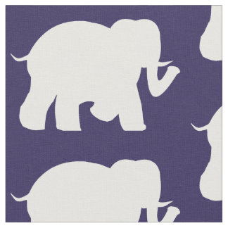 Navy & white elephants fabric