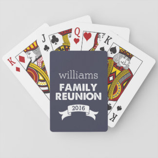 Navy & White Family Reunion Playing Cards