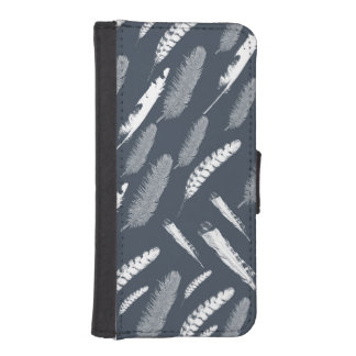 Navy White Feathers iPhone 5 Wallet