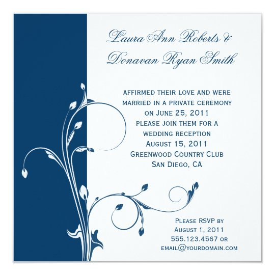 Navy White Floral Swirls Post Wedding Card
