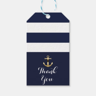 Navy White & Gold Anchor Nautical Stripes Wedding Gift Tags