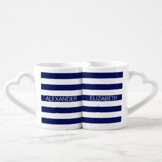 Navy White Horizontal Preppy Stripe Name Monogram Couples Mug