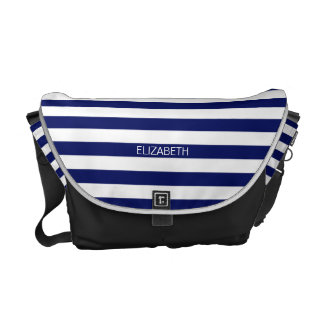 Navy White Horizontal Preppy Stripe Name Monogram Courier Bag