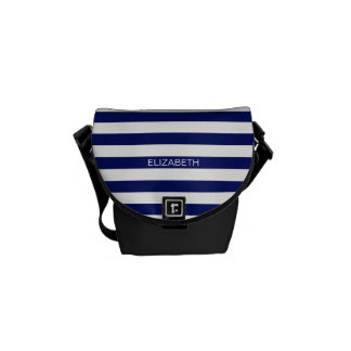 Navy White Horizontal Preppy Stripe Name Monogram Messenger Bags