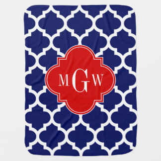 Navy White Moroccan 5 Red 3 Initial Monogram Baby Blankets