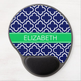 Navy White Moroccan #6 Emerald Name Monogram Gel Mouse Pad