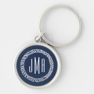 Navy & White Nautical Rope Monogram Silver-Colored Round Key Ring