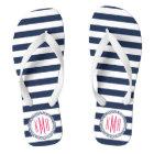 Navy & White Nautical Stripe w/ Pink Monogram Thongs