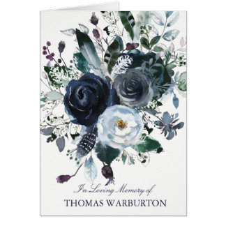 Navy & White Peonies Funeral Thank You Card