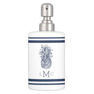 Navy & White Pineapple Monogram Soap Dispenser And Toothbrush Holder