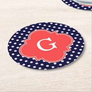 Navy White Polka Dot Coral Quatrefoil Monogram Round Paper Coaster