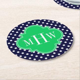 Navy White Polka Dot Emerald Quatrefoil 3 Monogram Round Paper Coaster