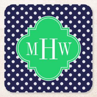 Navy White Polka Dot Emerald Quatrefoil 3 Monogram Square Paper Coaster