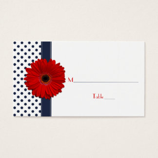 Navy White Polka Dot Red Gerber Daisy Place Card