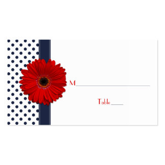 Navy White Polka Dot Red Gerber Daisy Place Card Double-Sided Standard Business Cards (Pack Of 100)