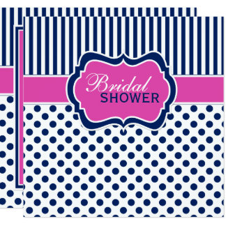 Navy, White Polka Dot Stripe Bridal Shower Invite
