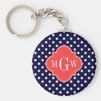 Navy White Polka Dots Coral Quatrefoil 3 Monogram Basic Round Button Key Ring