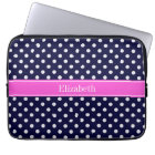Navy White Polka Dots Hot Pink Ribbon Monogram Laptop Sleeve