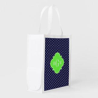 Navy White Polka Dots Lime Quatrefoil 3 Monogram Reusable Grocery Bag