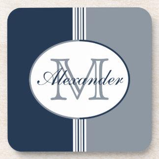 Navy White Silver Monogram Coaster